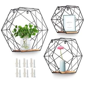Wall Mounted Hexagonal Floating Shelves Farmhouse